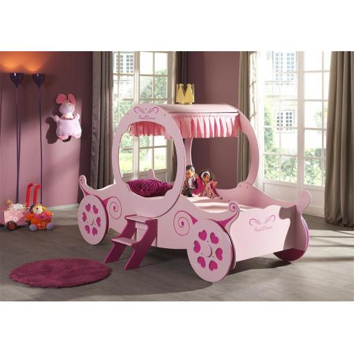 Princess Carriage Kids Novelty Bed Pink