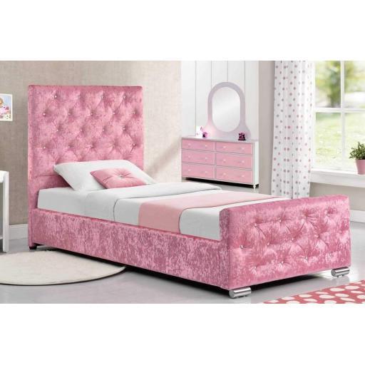 Princess Pink Crushed Velvet Bed Girls